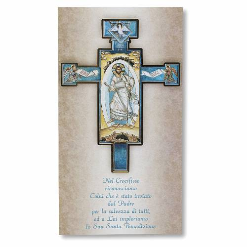 Benedizione delle case Cartoncino Croce Icona Gesù Risorto ITA s1