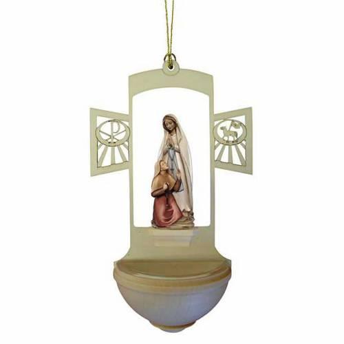 Bénitier bois Vierge de Lourdes et Bernadette peint s1