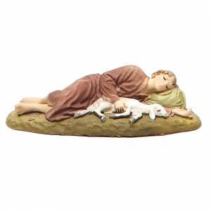 Santons crèche: Berger endormi résine peinte pour crèche 10 cm gamme M. Landi