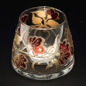 Bicchiere natalizio portacandela vetro rosso oro s4