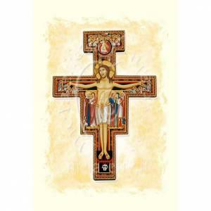 Biglietto auguri Crocifisso San Damiano pergamena s1