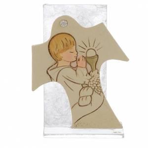 Bonbonniere: Bild mit Kreuz 11,5x8cm Erstkommunion Jung