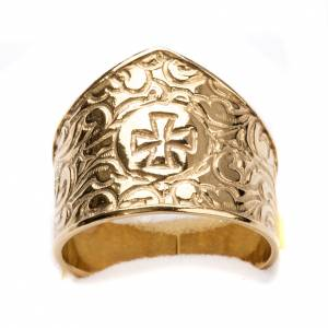 Bishop Ring in gold plated silver 800, cross decoration s4