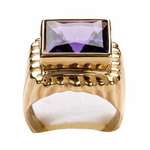 Bishop Ring in gold plated silver 800 with amethyst s7