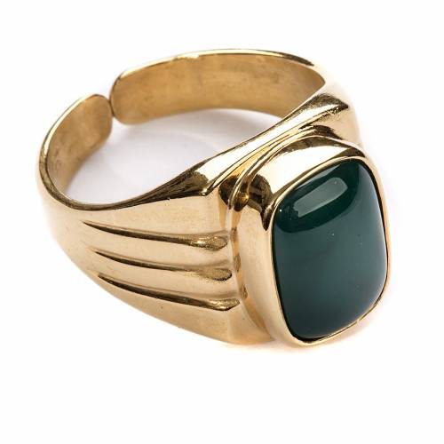 Bishop Ring in gold plated silver 800 with green agate stone s1
