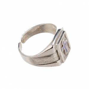 Bishop Ring in silver 800 with enamel cross s3