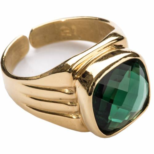Bishop Ring in silver 800 with green quartz 1