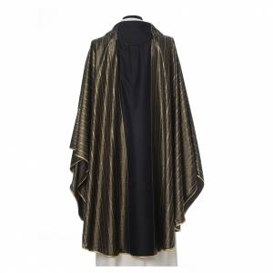 Black Chasuble in pure Tasmanian wool with double twisted yarn s3