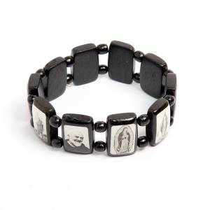 Multi-image wood bracelets: Black multi-image bracelet