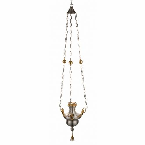Blessed Sacrament lamp in satin brass with angels s1