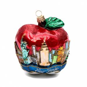 Blown glass ornaments: Blown glass Christmas ornament, New York Apple