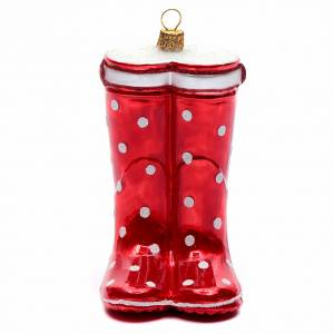 Blown glass ornaments: Blown glass Christmas ornament, red boots