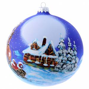 Christmas balls: Blown glass Christmas tree ball with Father Christmas on sledge 150 mm