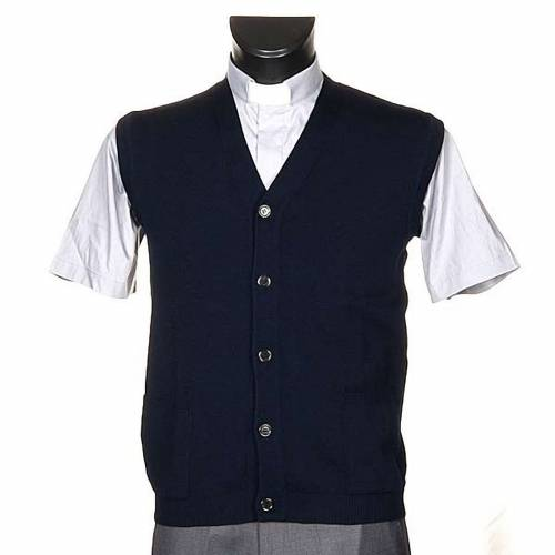 Blue waistcoat with buttons and pockets s1