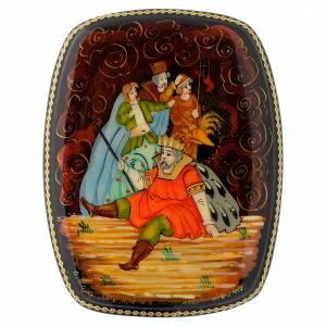 Boîtes russes laquées: Boîte de laque russe Le coq d'or Palekh