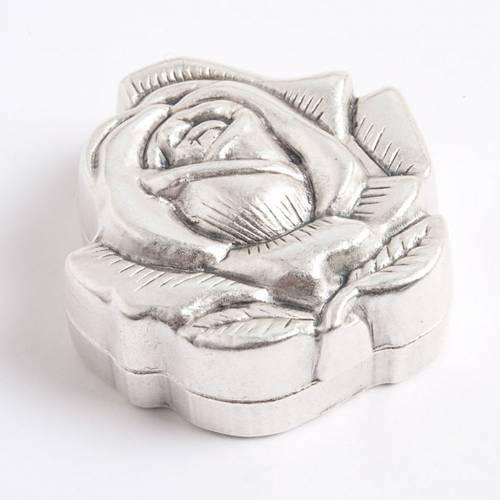 Boîte petite rose métal pour chapelets 4 mm s1