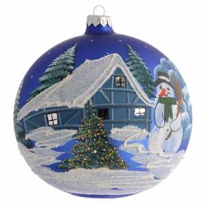 Bola de Navidad azul paisaje nevado 150 mm s1