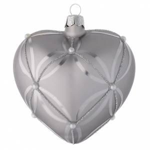 Bolas de Navidad: Bola de Navidad corazón de vidrio plata lúcido/opaco 100 mm