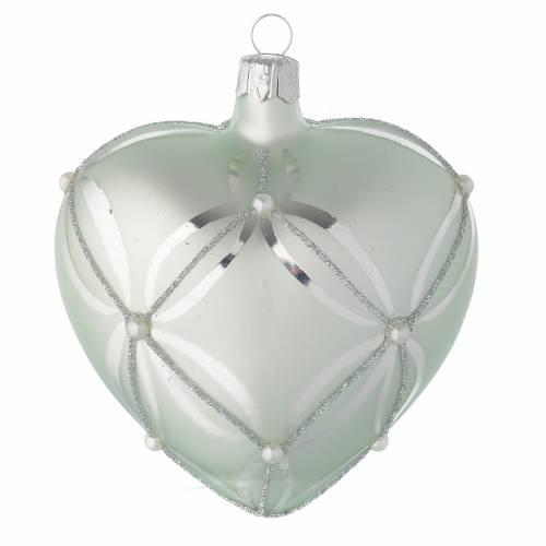 Bola de Navidad corazón de vidrio soplado verde metalizado 100 mm s1