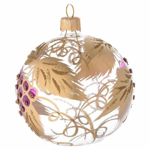 Bola de Navidad de vidrio soplado transparente con decoración uva 80 mm s2
