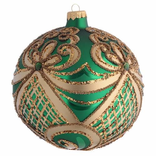 Bola de Navidad vidrio soplado verde y oro 100 mm s2