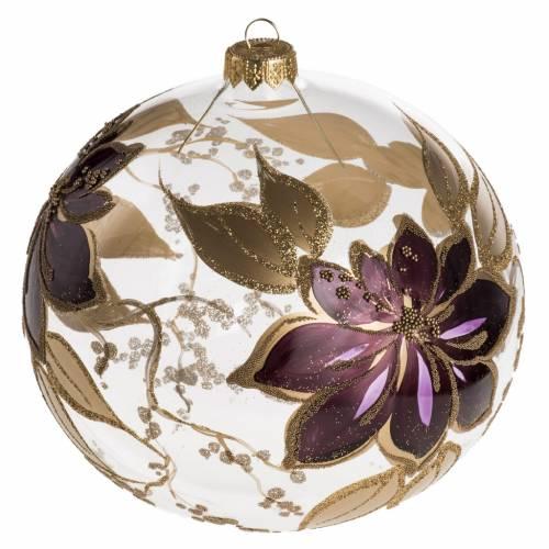 Bola de Navidad vidrio transparente  dorado y viola de 15 cm s1
