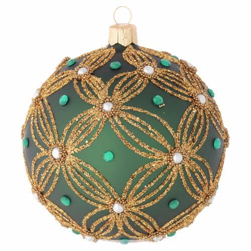 Bola navidad vidrio soplado verde decoraciones oro 100 mm s1