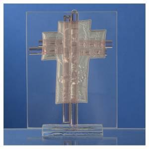 Bomboniera Comunione Croce vetro Murano rosa h. 10,5 cm s4