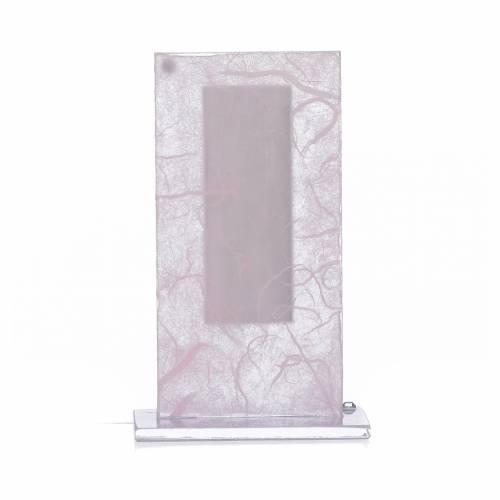 Bomboniera Cristo vetro argento rosa-lilla h. 11,5 cm s3