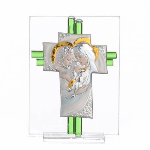 Bomboniera Matrimonio Croce S. Famiglia vetro Murano acquamarina h. 10,5 cm s1