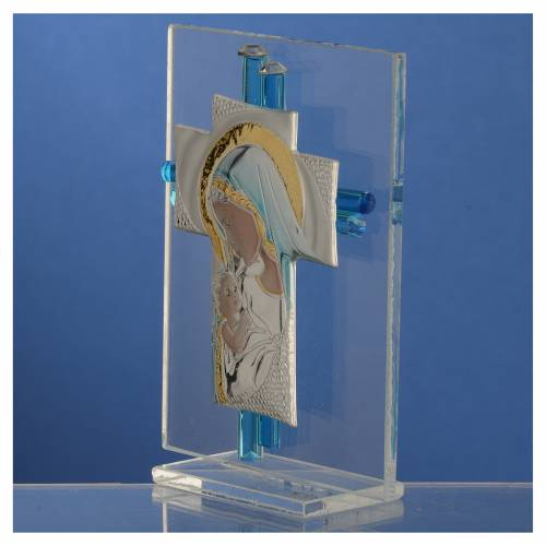 Bomboniera Nascita Croce vetro Murano acquamarina h. 10,5 cm s3