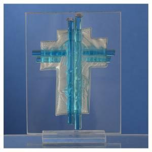 Bomboniera Nascita Croce vetro Murano acquamarina h. 10,5 cm s4