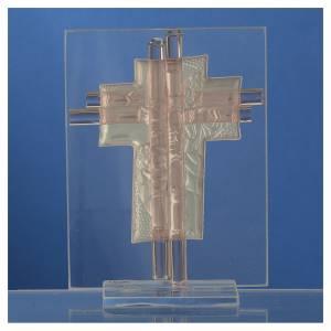 Bonbonnière Baptême croix verre Murano rose h 10,5 cm s4