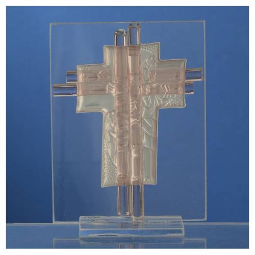 Bonbonniere Baptism Cross pink Murano glass 10,5cm s4