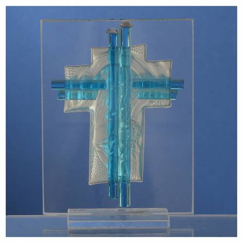 Bonbonniere Birth Cross aquamarine Murano glass 10,5cm s4
