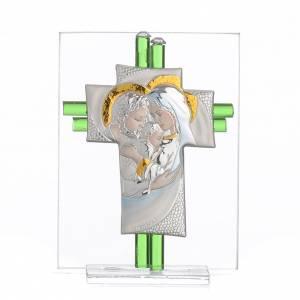 Bonbonnières: Bonbonnière Mariage croix Ste Famille verre Murano aigue-marine h 10,5 cm