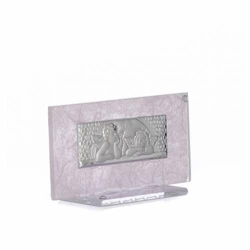 Bonbonnière Naissance verre rose-lilas h 11,5 cm s2