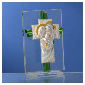Bonbonniere Wedding Holy Family aquamarine Murano glass 10,5cm s3
