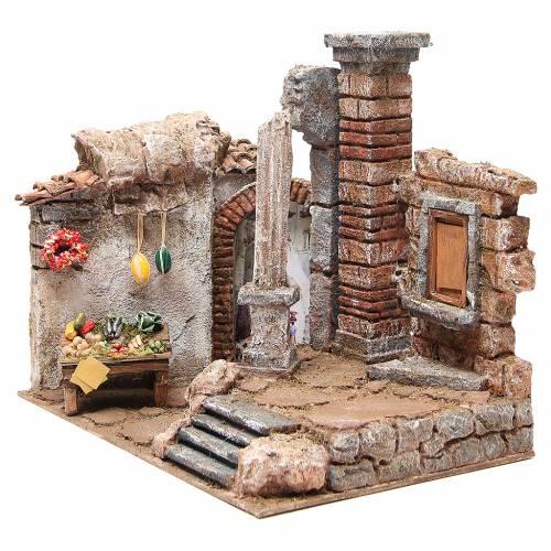 Borgo con colonna e ambiente presepe 35x35x25 cm s2
