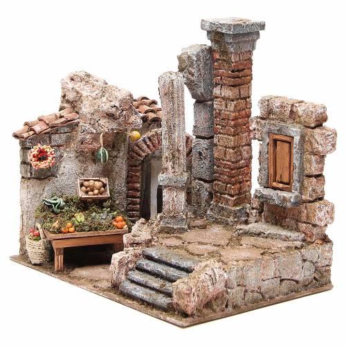 Borgo con colonna e banchetto presepe 28x30x20 cm s2