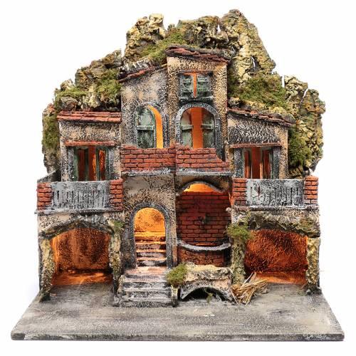 Borgo con due capanne 50x50x35 cm con fontana e luce presepe Napoli s1