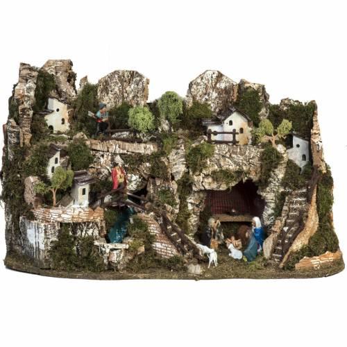 Borgo presepe 74x43x36 cm con cascata s1