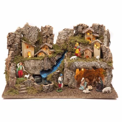 Borgo presepe con fuoco luci con cascata grotta 40x58x38 s1