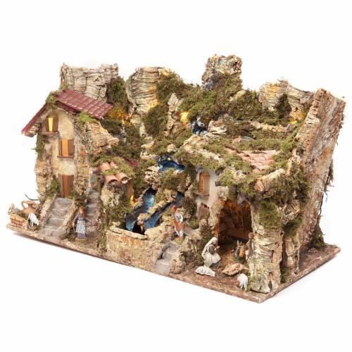 Borgo presepe con fuoco luci doppia cascata 40x76x38 s3