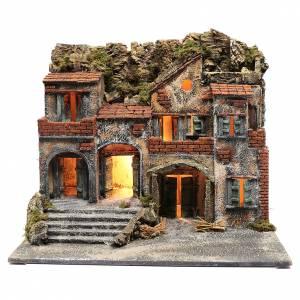 Presepe Napoletano: Borgo presepe napoletano illuminato 50x60x45 cm