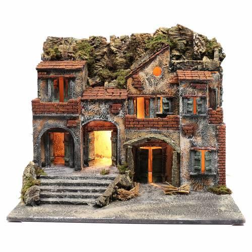 Borgo presepe napoletano illuminato 50x60x45 cm s1