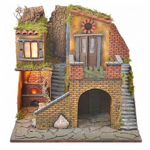 Borgo presepe napoletano stile 700 con forno e luce 47x50x41 s5