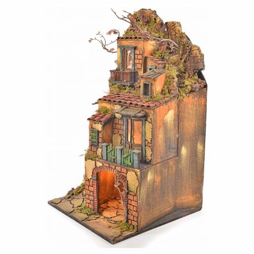Borgo presepe napoletano stile 700 torre luce 65x45x37 s2