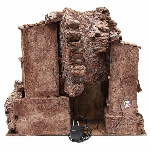 Borgo rustico illuminato del presepe con capanna 55x60x50 cm s4