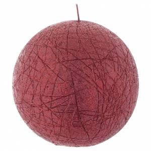 Bougies de Noel: Bougie de Noël Comet sphère 12,5 cm rouge
